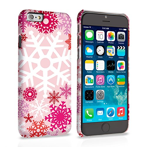 Caseflex iPhone 6 Plus / 6S Plus Hülle Rot / Rosa Winter Weihnachten Schneeflocke Hart Schutzhülle (Kompatibel Mit iPhone 6 Plus / 6S Plus - 5.5 Zoll)