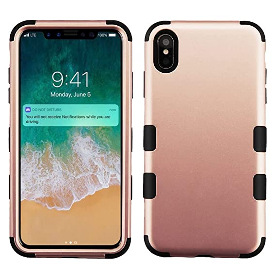 buy popular 9f076 8a8cc Amazon.com: for iPhone Xs Max Rose Gold/Black TUFF Hybrid Phone ...