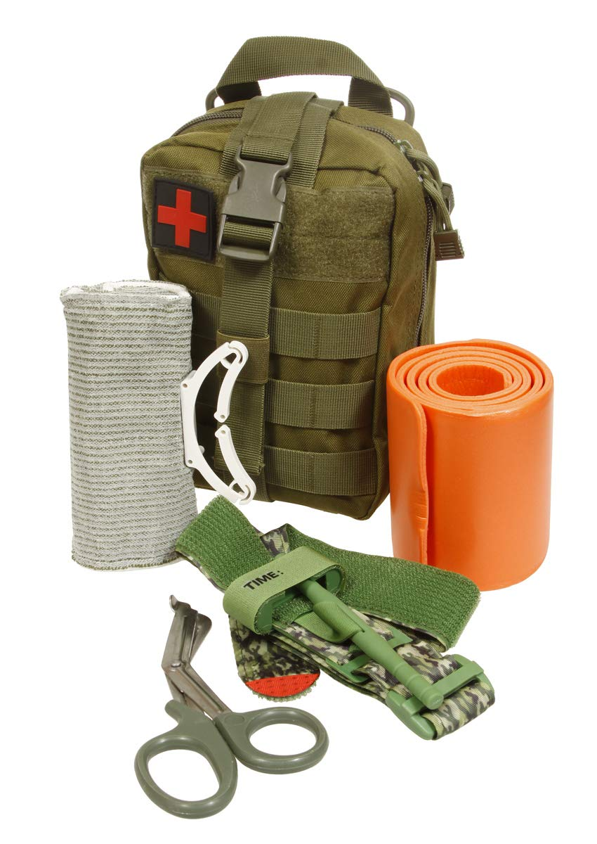 Emergency Survival Trauma Medical Kit with Tourniquet 36'' Splint, Military Combat Tactical IFAK for First Aid Response, Critical Wounds, Gun Shots, Blow Out, Severe Bleeding Control (Army Green)