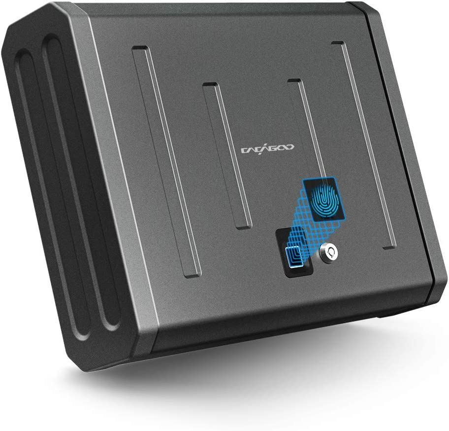 CACAGOO Gun Safe, Biometric Gun Safe Smart Pistol Safe for Home, Handgun Safe Firearm Safety Device Quick Access with Auto Open Lid