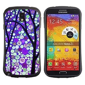 Suave TPU Caso Carcasa de Caucho Funda para Samsung Note 3 N9000 N9002 N9005 / Winter Purple Snow Lights / STRONG