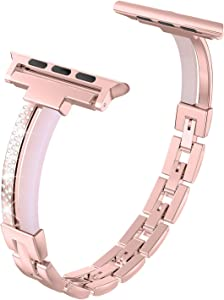 Wearlizer Stainless Steel Compatible with Apple Watch Band 38mm 40mm for iWatch Women Strap Resin and Metal Rhinestone Wristband Sleek Link Bracelet for Series 6 5 4 3 2 1-Light Pink