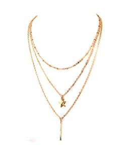 Epinki Multilayer Necklace, Women Girls 3 Layer Gold Starfish Bar Bead Necklace with Adjustable Chain