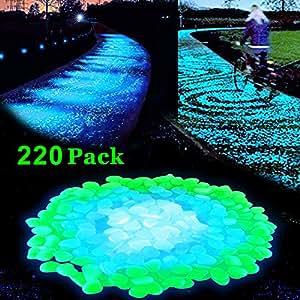 Lovebay 220pcs glow in the dark garden pebbles glow stones rocks for walkways for Glow in the dark garden pebbles