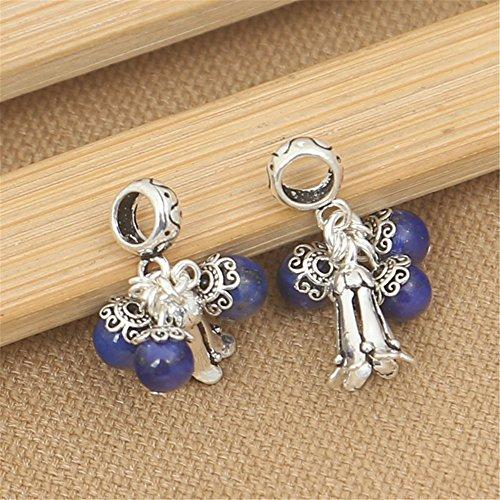 Lazuli Lapis Tube Beads (Luoyi 1pc Natural Lapis Lazuli Pendant, Sterling Silver Flower Dangle Bead Fit European Charm Bracelet (G014Z))