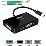 USB 3.0 to HDMI and VGA/DVI Dual-Monitor Adapter External Graphics Converter, Rongyuxuan USB 3.0 to HDMI-VGA-DVI Cable Multi-Display Video Converter Full HD 1920x1080p for Win 7/8/10 Desktop Laptop PC