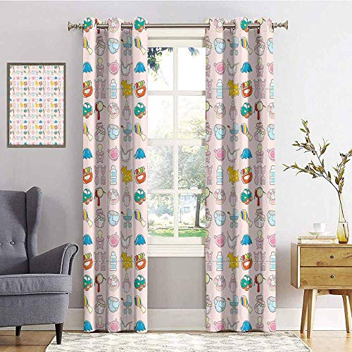 Flyingfishly Baby Shading Insulated Curtain A Vast Collection of Toys Cartoon Drawing Stroller Drum Car Pacifier Slide Playthings for Living Room or Bedroom W96 x L84 Inch Multicolor