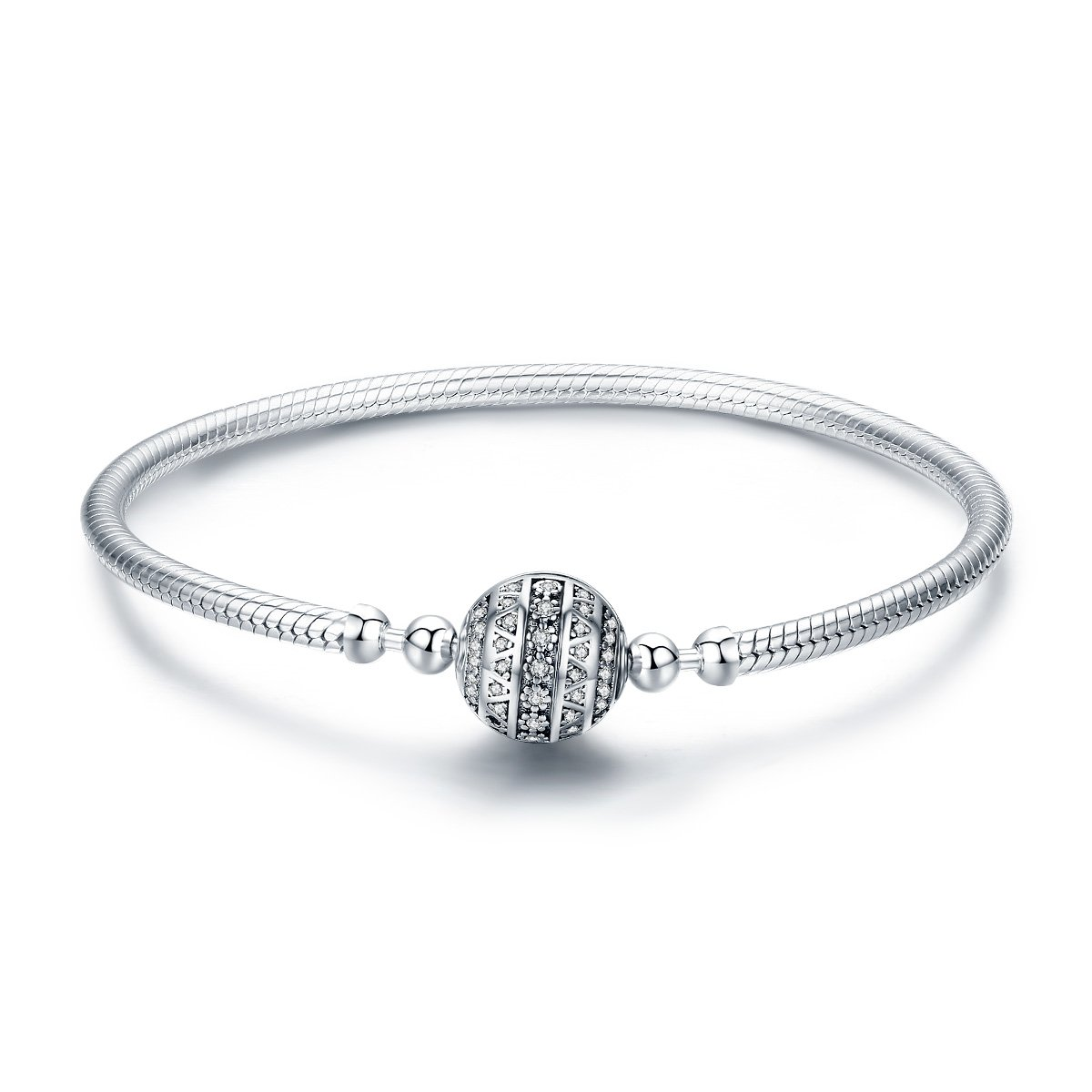 The Kiss Dazzling Clear CZ Round Clasp Snake Chain 925 Sterling Silver Charm Bracelet