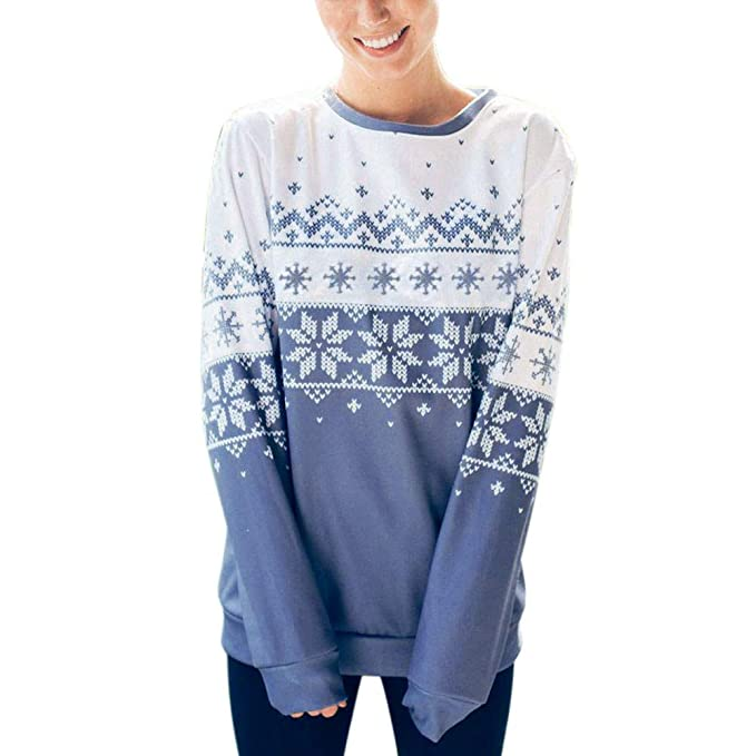 Sannysis Jerseys Navidad Mujer Elegantes Manga Largo Cuello Redondo Suéter De Navidad Vintage Termica Moda Suéter De Punto Pullover Punto Sudaderas Jumper ...