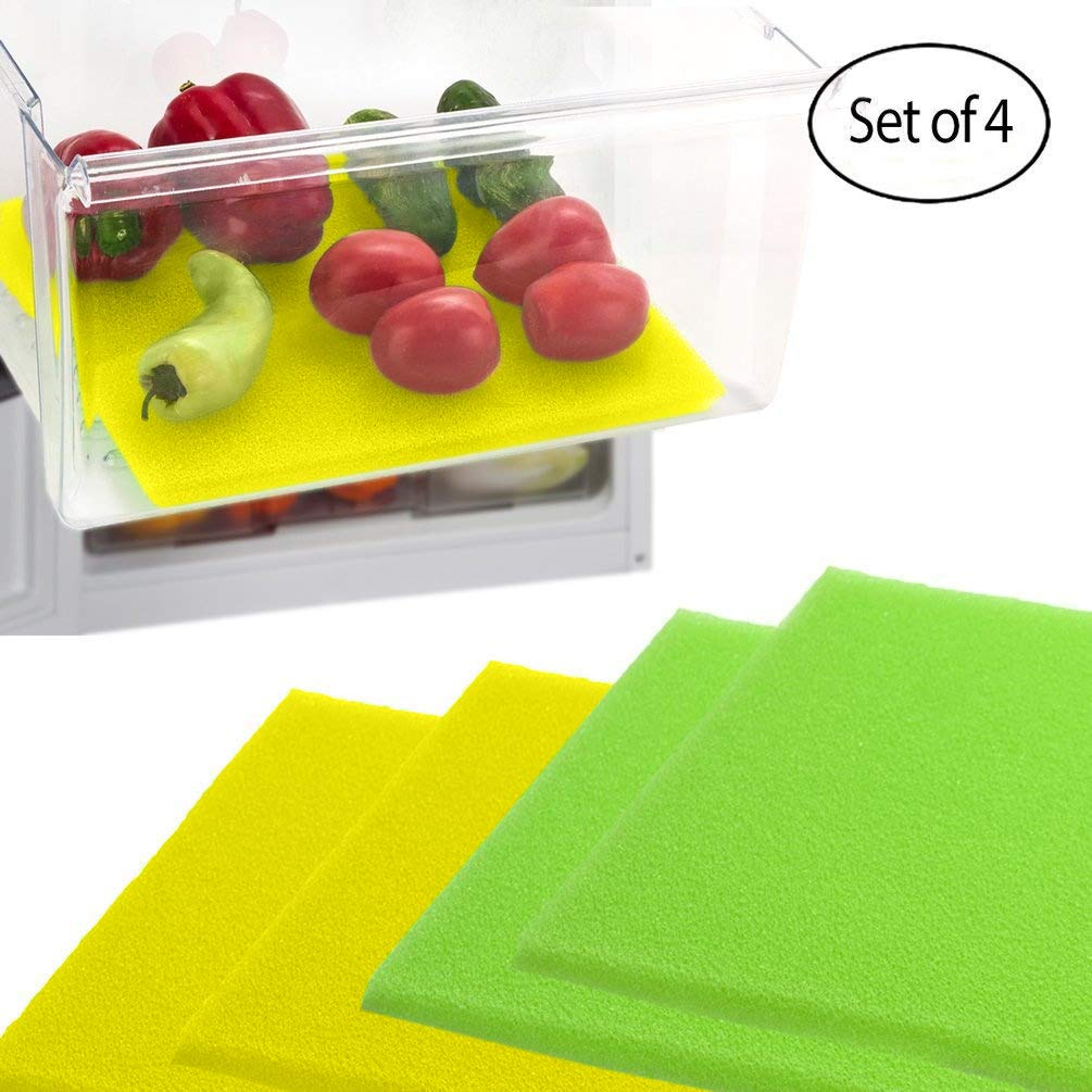Dualplex Fruit & Veggie Life Extender Liner for Fridge Refrigerator Drawers, 12 x 15 Inches, 4 Pack Includes 2 Yellow 2 Green – Extends The Life of Your Produce Stays Fresh & Prevents Spoilage