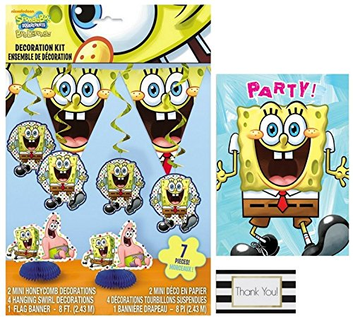 SpongeBob SquarePants 7 pc Decoration Kit and 8 ct Invitations by BT (Spongebob Birthday Invitations)