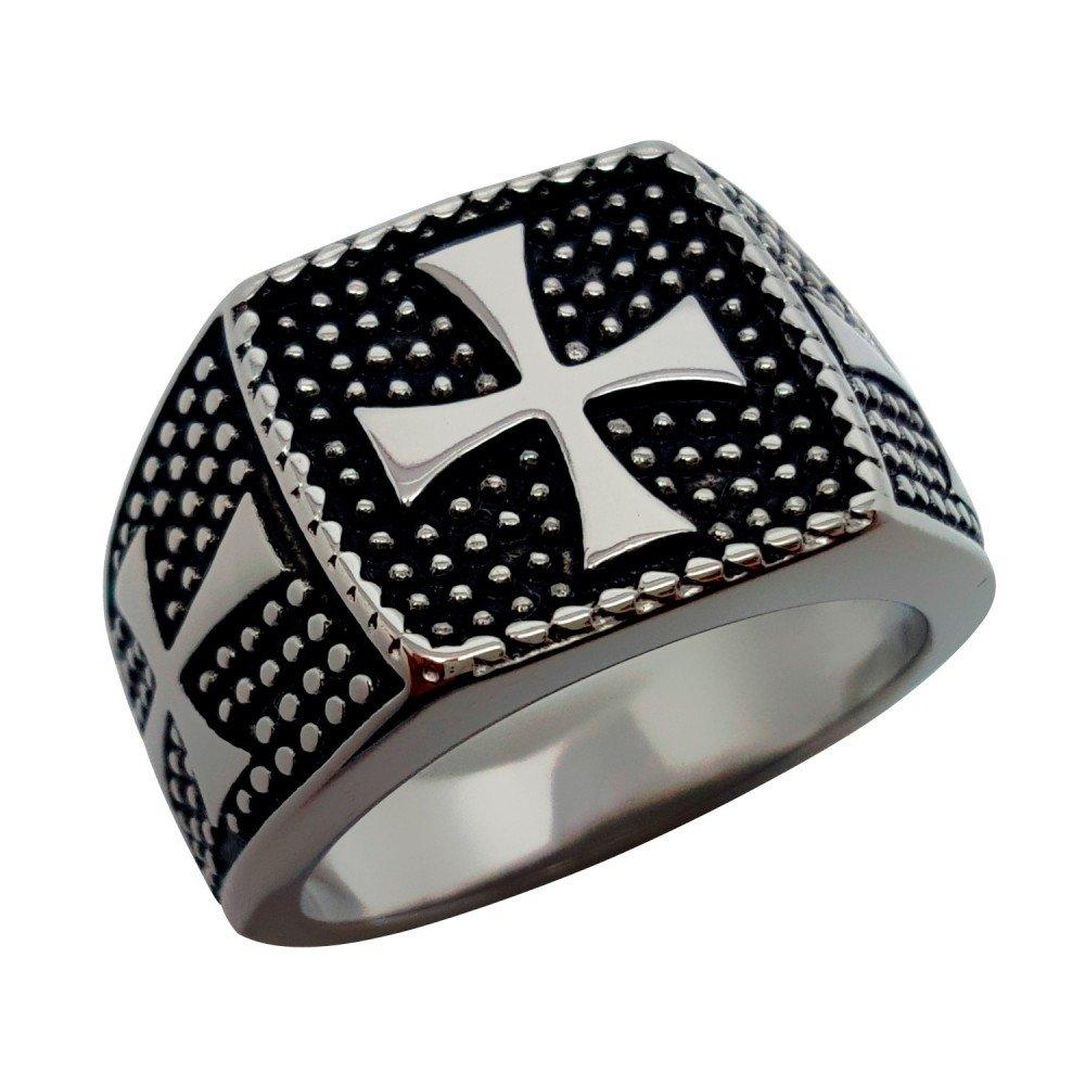 BOBIJOO Jewelry - Bague Chevalière Croix de Malte Templiers Acier Inoxydable Maltese Chevalier