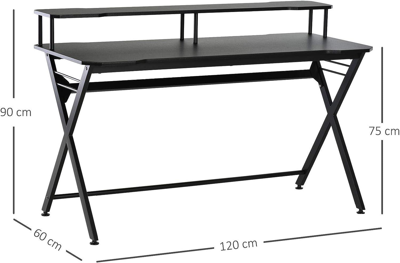 HOMCOM Gaming-Tisch Schreibtisch mit Kopfh/örerhaken Computertisch Stahl MDF Schwarz 120 x 60 x 90 cm