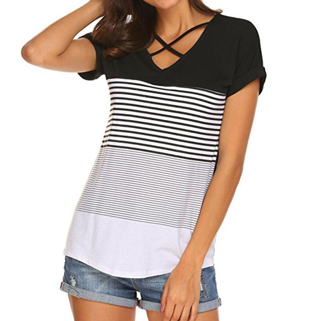 ec40f2bd0d4 Amazon.com  Sothread Women s Short Sleeve Triple Color Block Stripe Criss  Cross T Shirt Tunic Tops  Clothing