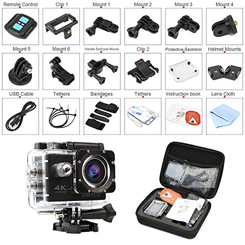 DMYCO Action Camera 4K, Waterproof Sport Camera cam with 2.4GHz Wifi Remote Control 4K 30Fps 16MP Ultra HD 170 Degree Wide Angle Sport Helmet Bike Camera with 2.0 Inch LCD 20+ Accessories Kits LI YU SZ