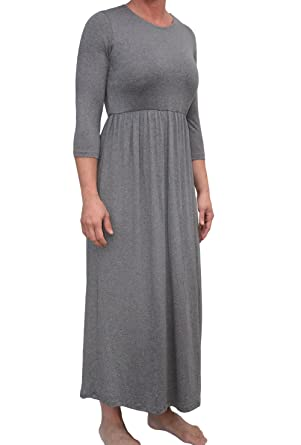053878829117 Kosher Casual Women's Modest High Waisted Maxi Dress with 3/4 Sleeves and  Elastic Waistband Medium Charcoal Grey at Amazon Women's Clothing store:
