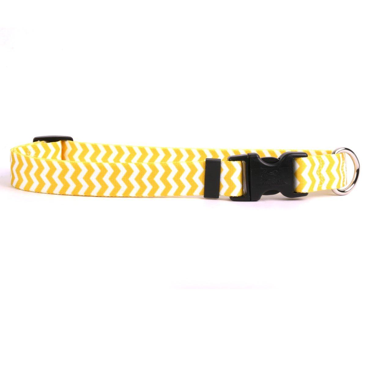 Yellow Dog Design Chevron-Lemon Dog Collar Fits Neck 14 to 20'', Medium 1'' Wide