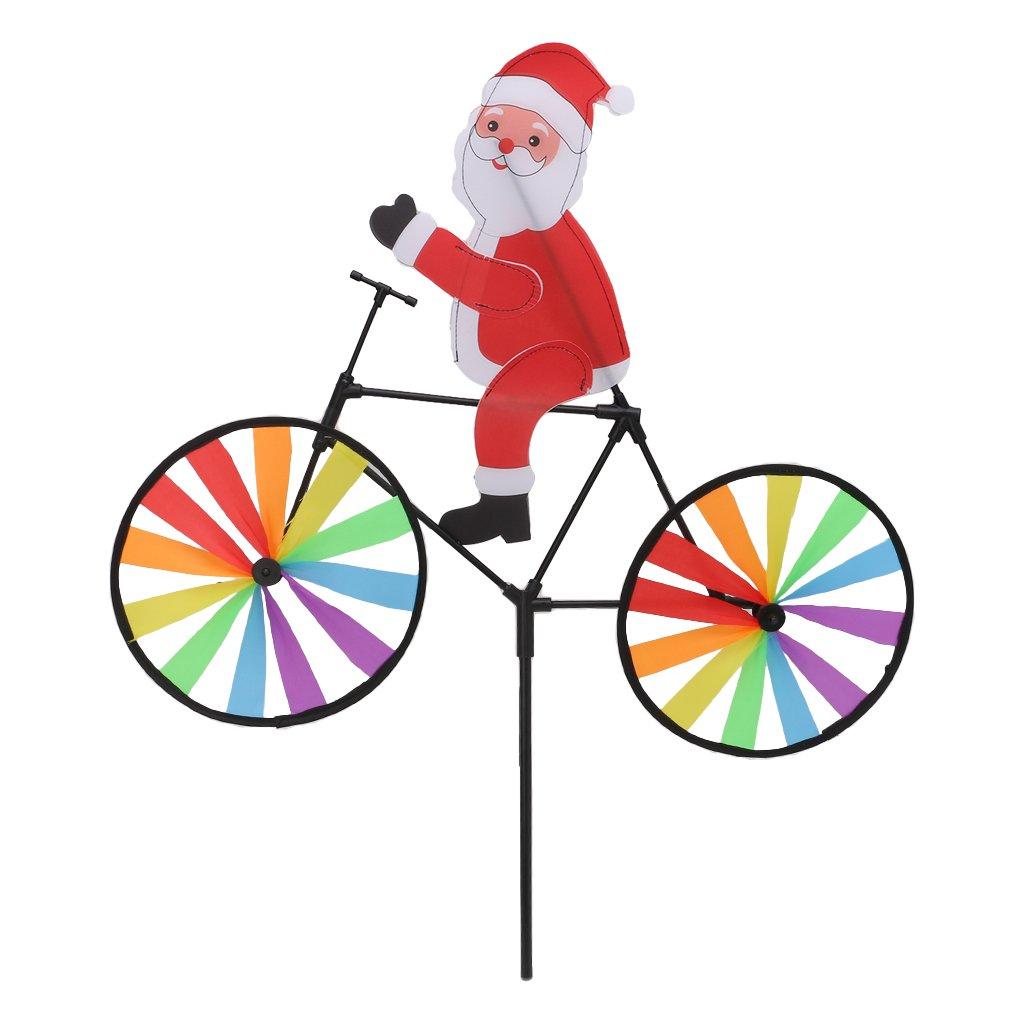 Senoow 3D Große Weihnachten Weihnachtsmann auf Fahrrad Windmühle Wind Spinner Whirligig Hof Garten Dekor (zufällige Stil, 1 Stück) 1 Stück)