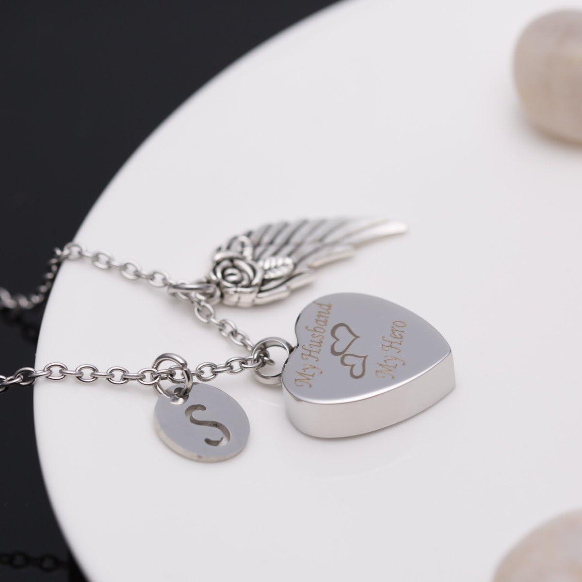 Cremation Urn Jewelry My Husband My Hero Angel Wings 26 Alphabet Memorial Ash Keepsake Heart Necklace