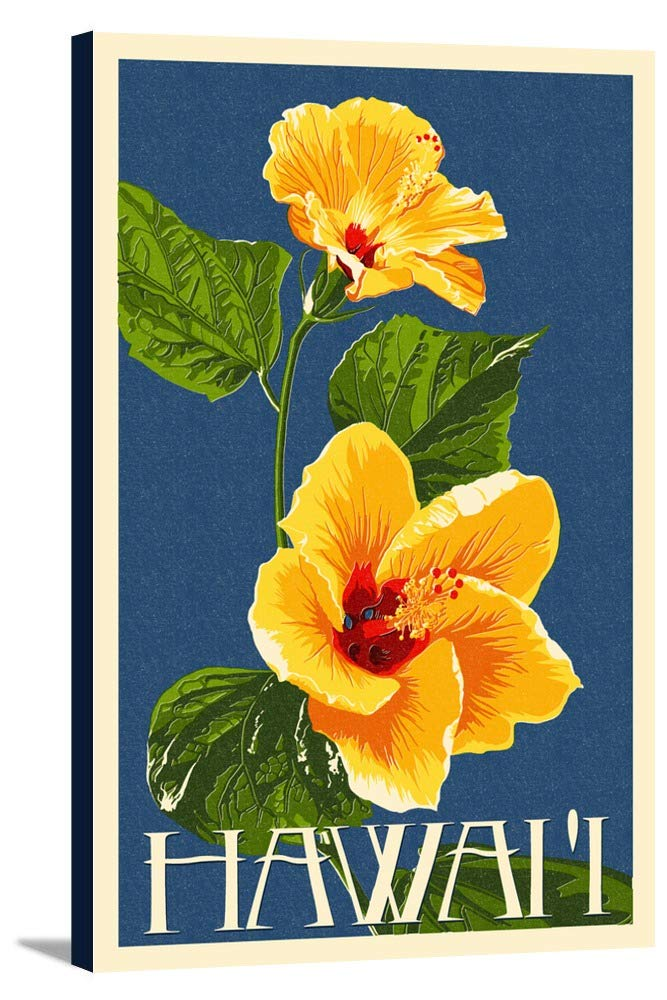 ハワイ – イエローハイビスカスLetterpress 24 x 36 Gallery Canvas LANT-3P-SC-46469-24x36 24 x 36 Gallery Canvas  B0184ALQLE