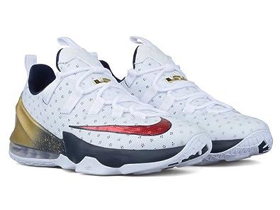 Nike Mens Lebron XIII Low \u0026quot;Olympics\u0026quot; White/University  Red-Obsidian Leather