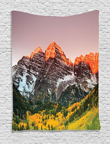 Ambesonne Mountain Tapestry, Scenic Western American Mountains on Valley with Snowy Peaks at Sunset Landscape, Wall Hanging for Bedroom Living Room Dorm, 60 W X 80 L Inches, Mauve Brown