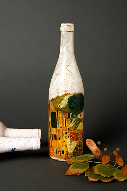 Botella de vidrio para vino hecha a mano regalo original decoracion de cocina