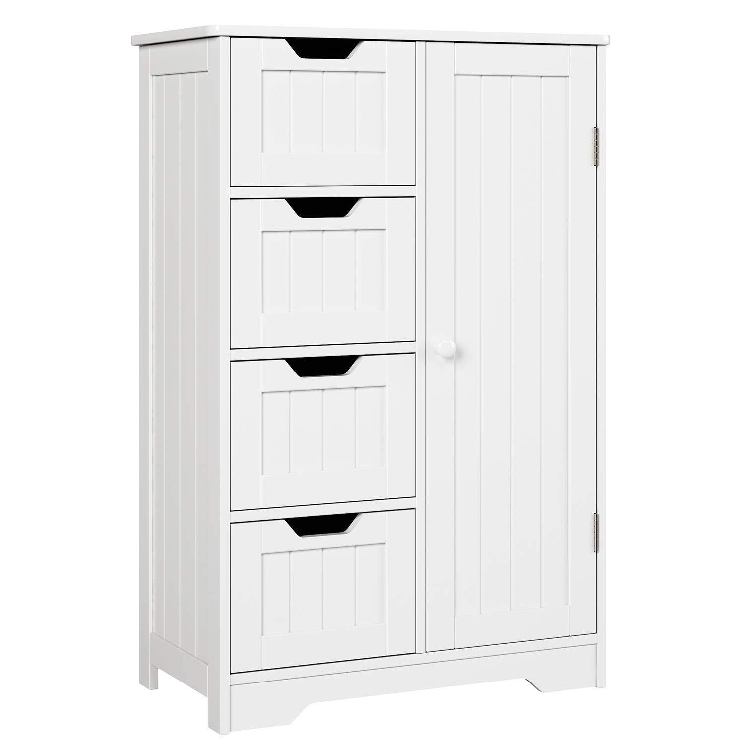 HOMFA Bathroom Floor Cabinet, Wooden Side Storage Organizer Cabinet with 4 Drawer and 1 Cupboard, Freestanding Unit for Better Homes and Gardens Office by Homfa