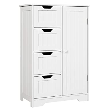 HOMFA Bathroom Floor Cabinet, Wooden Side Storage Organizer Cabinet with 4 Drawer and 1 Cupboard, Freestanding Unit for Better Homes and Gardens Office