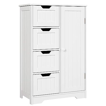 picture of HOMFA Bathroom Floor Cabinet, Wooden Side Storage Organizer