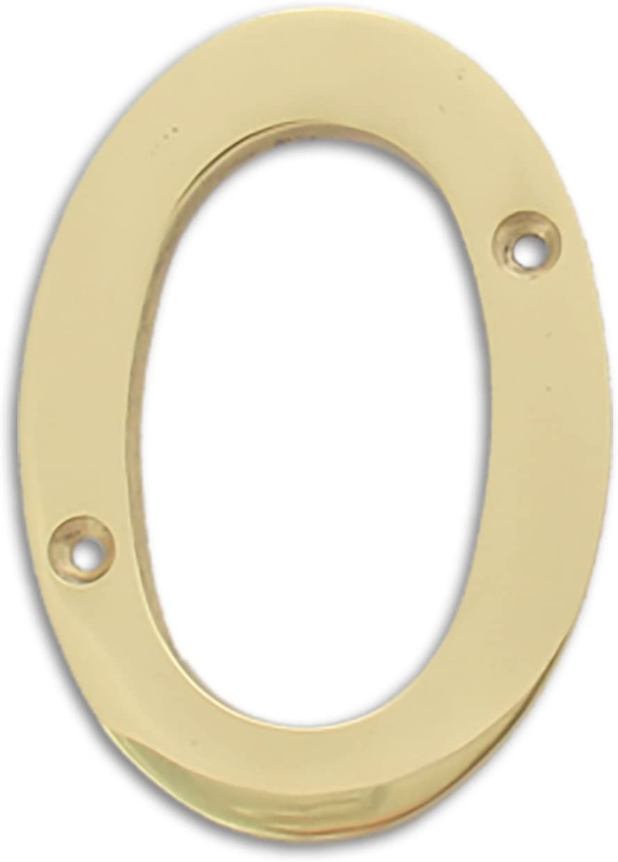 RCH Hardware Solid Brass 4 Tall House Number 1 Polished Brass Shiny Gold Matching Screws Included