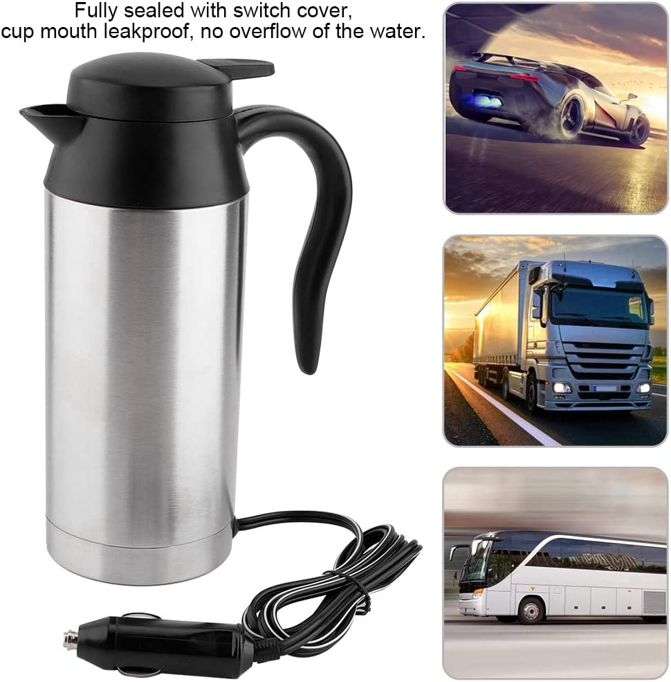 Garsent 750ml 24V Car Electric Kettle, Portable Stainless Steel Travel Car Cigarette Lighter Hot Water Kettle Electric Mug Kettle for Tea, Coffee. (24V) 12v