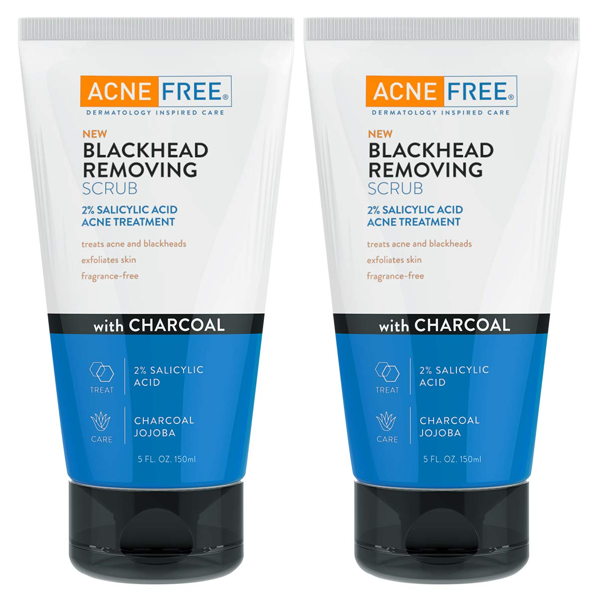 AcneFree Blackhead Exfoliating Face Scrub With 2% Salicylic Acid And Charcoal Jojoba, Pack of 2, 5 Fluid Ounce Each by AcneFree