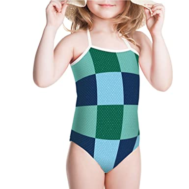6a328aca7932a Amazon.com: iPrint Swimsuit for Girls Squares with Old Fashioned Polka Dots  Retro Style Swimwear: Clothing
