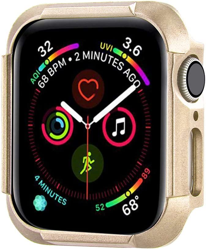 Konafei Compatible with Apple Watch Case 40mm 44mm Series 6 5 4 SE, Matte Hard Bumper Silm Plastic Protective Cover Lightweight Ultra-Thin PC Guard Accessories for iwatch (Champagne Gold, 44mm)