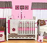 Damask Pink/Choc 9pc Crib Set