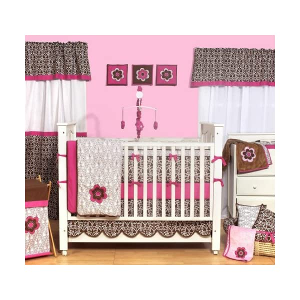 Bacati – Damask Pink and Chocolate 9pc Crib Set W/o Bumper
