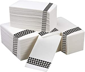 Linen Feel Disposable Napkins| Cloth Like| Dinner Napkins| 100 Pack| Party Napkins| Kitchen Napkins| Houndstooth Pattern