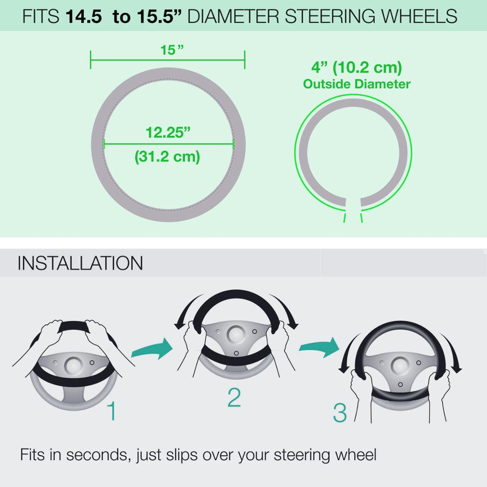 Frog Pattern Steering Wheel Cover 14.5 to 15.5