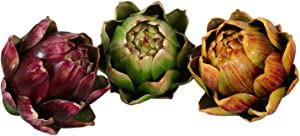 Skyseen 3PCS Artichoke Artificial Flower Fake Vegetables, 4.33.9Inch