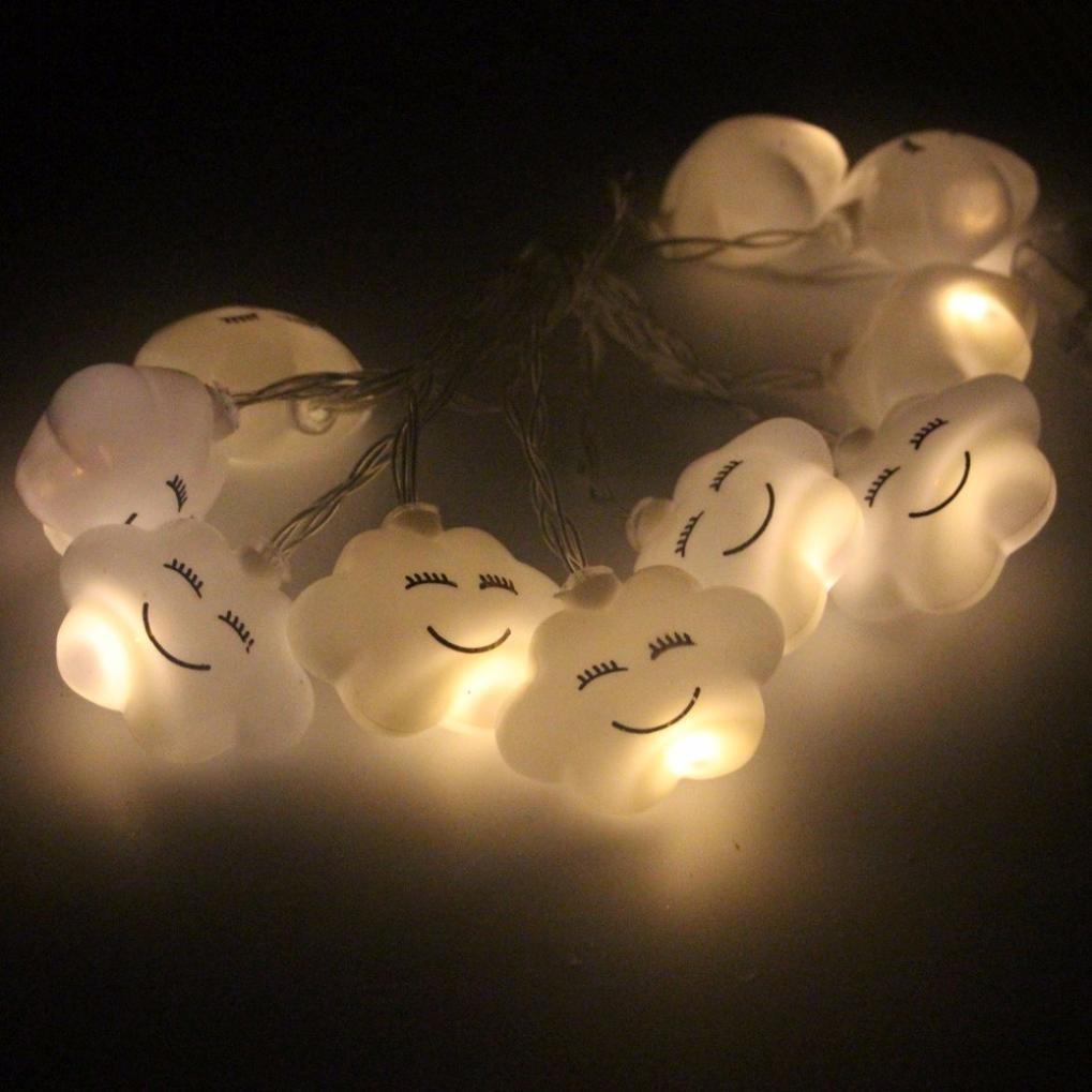 1.5M 10 LED White Cloud Shape String Lights Party Wedding Christmas Decor (Yellow)