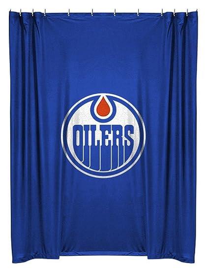 NHL Edmonton Oilers Shower Curtain Hockey Bath Accessory