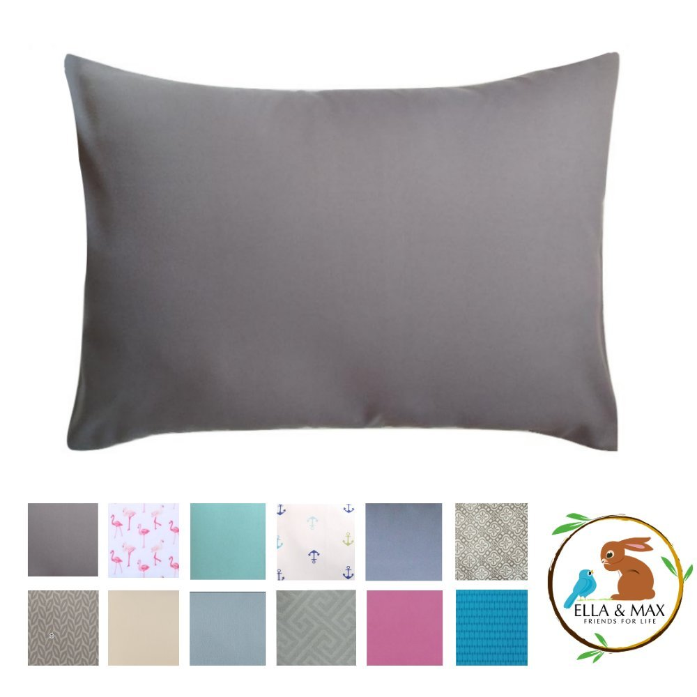 TODDLER PILLOWCASE by Ella & Max.  Charcoal Gray.  Soft and cuddly.  Fits 13 x 18 and 14 x 19.  Made of luxury microfiber fabric.  No ironing.  Best toddler or travel pillowcase.