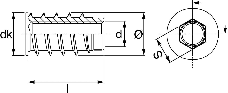 M8 Innengewinde 15 mm Einschraubmutter ohneKragen RONIN FURNITURE FITTINGS/® 100 St/ück Einschraubmuffe verzinkt