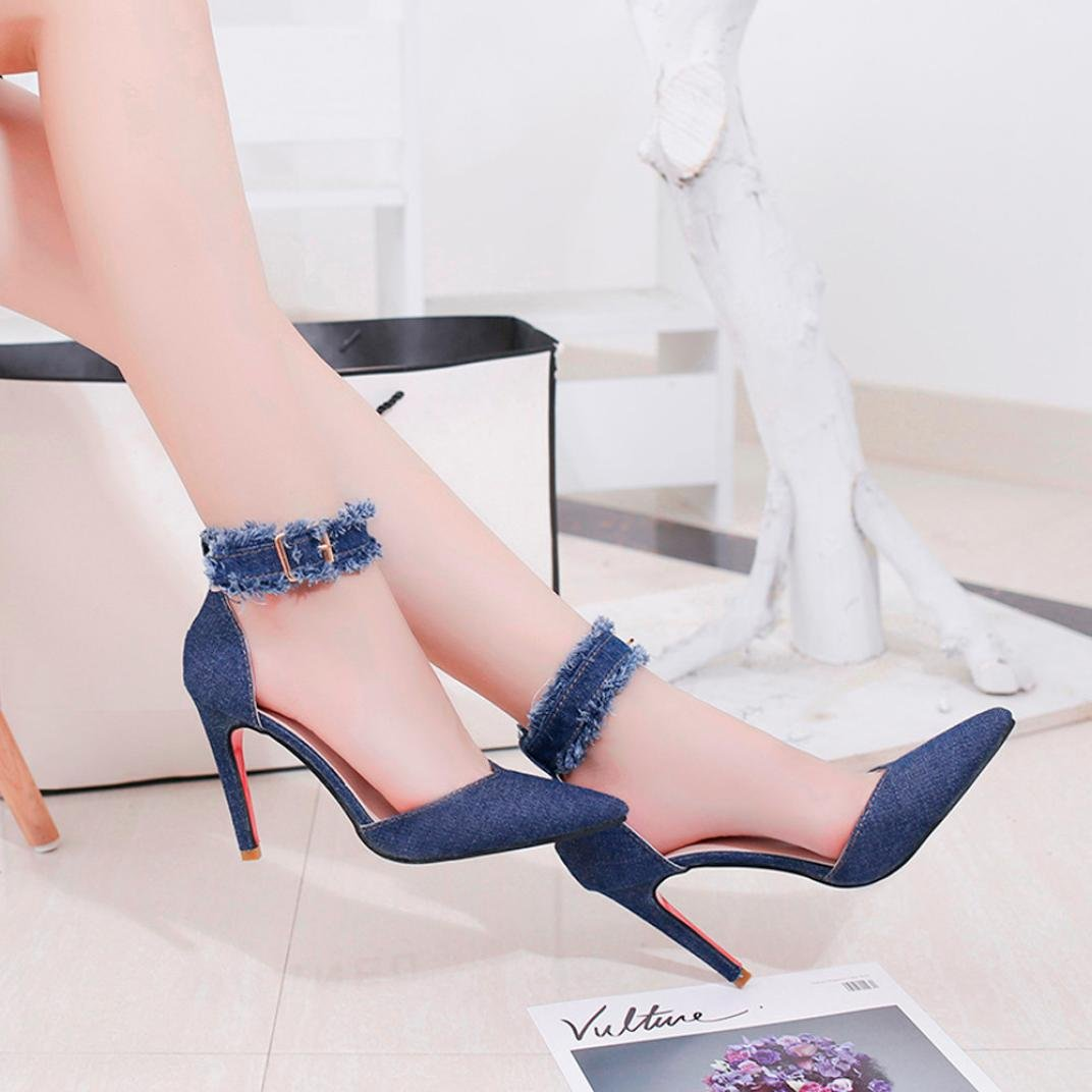 e0edd9e4bba Amazon.com  Solid Burrs Denim Baigoods Ankle Strap Pointed Toe High Heeled  Shoes for Women Summer Fashion Elegant Cool  Camera   Photo