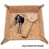 Boshiho Cork Jewelry Catchall Key Coin Box Valet Tray Change Caddy Bedside Box Storage Eco-friendly Gift