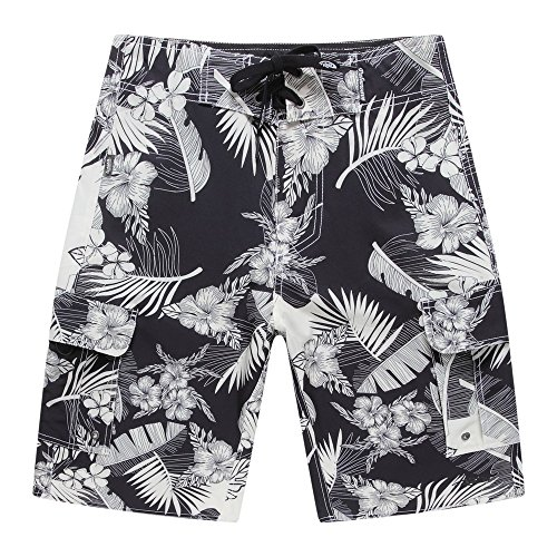 Men's Beach Wear Board Shorts with Pocket in Black with Cream Floral and Leaves 36