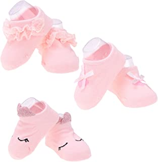 Fityle 3 Pairs of Baby Girls Socks Bow Lace Newborn Infant Sock Cotton Short Socks - Light pink, 0-1 Years