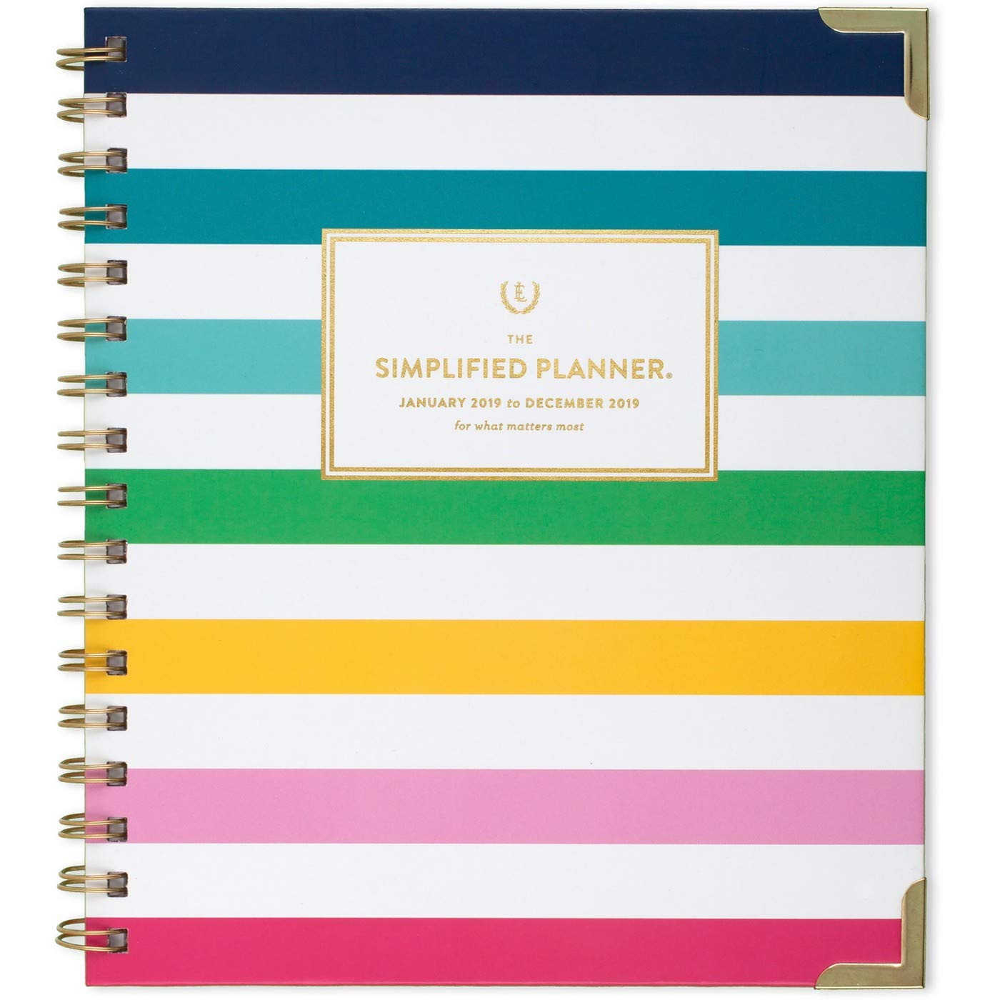"""Amazon.com : Emily Ley 2019 Weekly & Monthly Planner, The Simplified Planner,  9'' X 8"""", Medium, Hardcover, Perfect Bound. Happy Stripes : Office Products"""