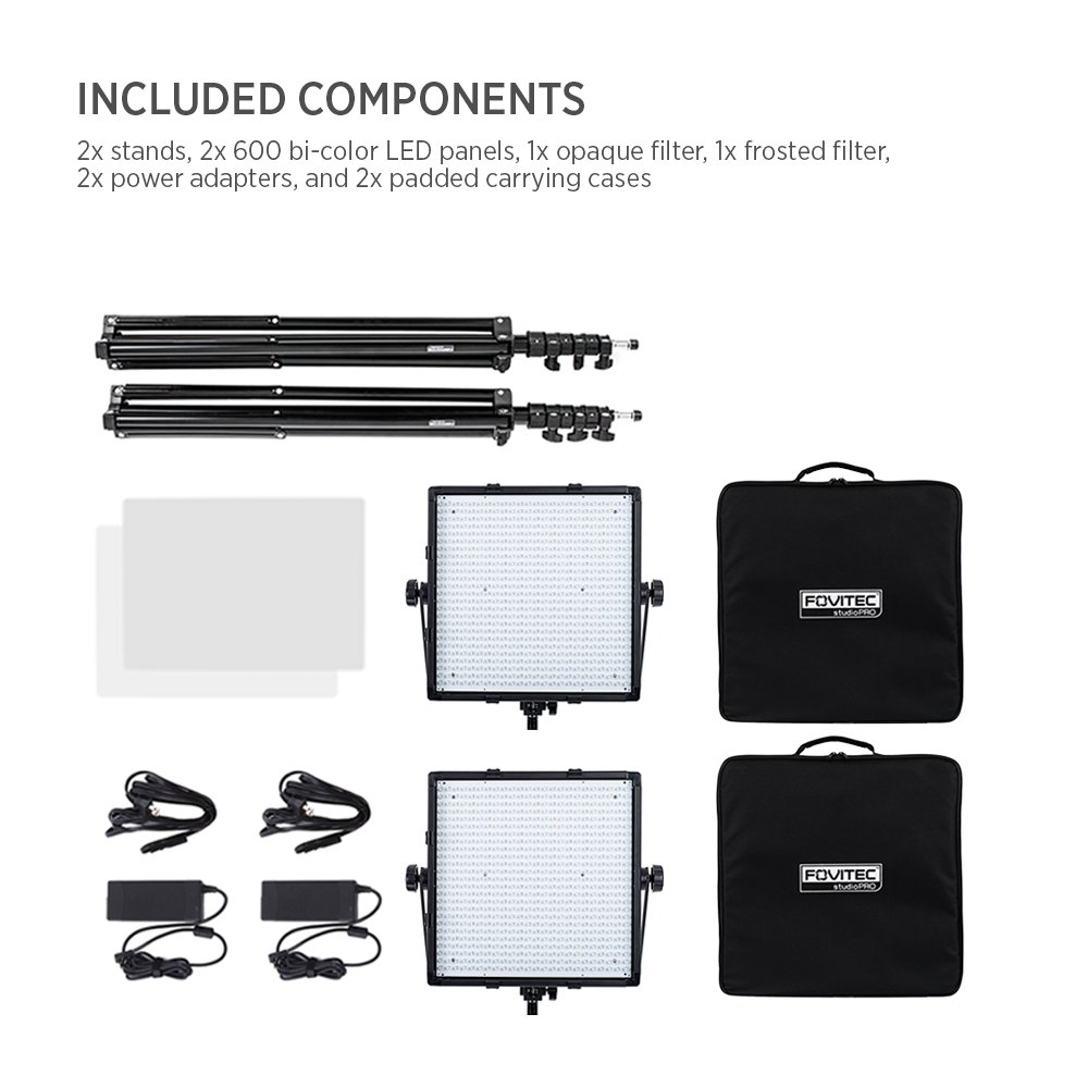 Fovitec - 1x Photography & Video Bi-Color 600 XB LED Panel Kit w/Stands & Cases - [95+ CRI][Continuous Lighting][Stepless Knobs][V-Lock Compatible][3200-5600K] by Fovitec (Image #6)